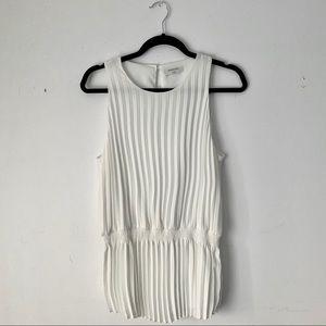 Aritzia   White pleated sleeveless Babaton blouse